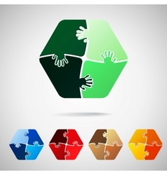 hexagon from puzzle pieces vector image