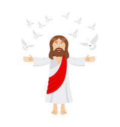 jesus christ and dove holy man and pigeon son of vector image