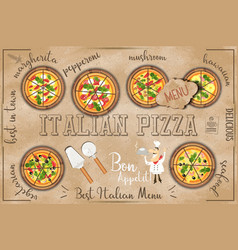 pizza menu in kraft style vector image vector image