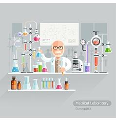 Professor Working on Medical Laboratory vector image