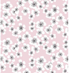 sakura blossom seamless pattern on pale pink vector image vector image