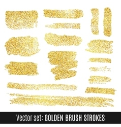 Set of golden watercolor brush stroke isolated on vector image vector image