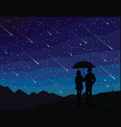 starfall silhouette of couple under umbrella vector image vector image