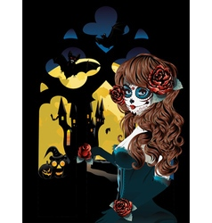 Witch near Gothic Window5 vector image