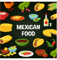 mexican food poster vector image vector image