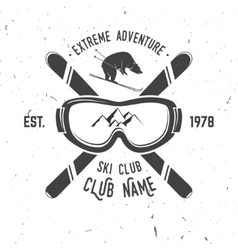 ski club retro badge vector image vector image