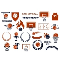 Basketball game items for sport club team design vector image