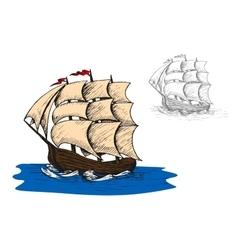 Old sail sip in ocean vector image