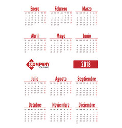 spanish vertical calendar on 2018 year vector image vector image