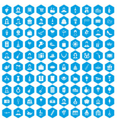 100 birthday icons set blue vector