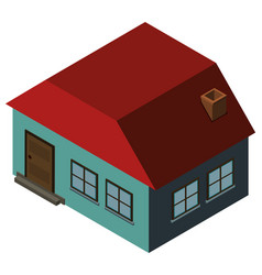 3d design for blue house with red roof vector image
