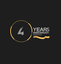 4 years anniversary logotype style with silver vector