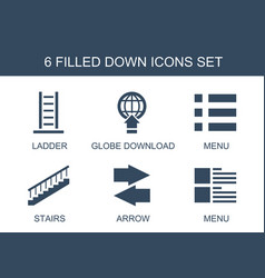 6 down icons vector