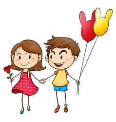 A girl with a flower and a boy with balloons vector image