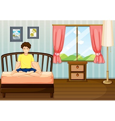A man performing yoga inside his room vector image