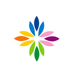 Abstract colorful flower rainbow logo vector