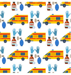 ambulance seamless pattern background vector image