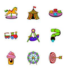 Amusement park icons set cartoon style vector