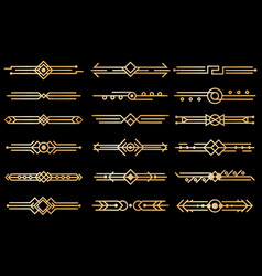 Art deco borders gold deco design dividers book vector