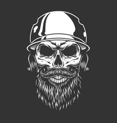 Bearded and mustached baseball player skull vector
