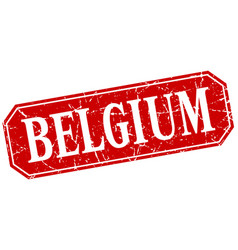 Belgium red square grunge retro style sign vector