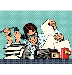 Businessman working papers vector image