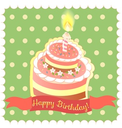 Cake on the green background vector image