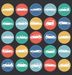 Cars collection set on color circles black vector