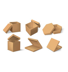 carton package realistic cardboard product vector image