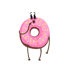 Cartoon character of vanilla glazed doughnut with vector