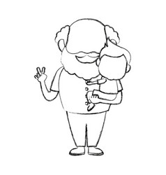Cartoon happy grandpa and his grandson on white vector