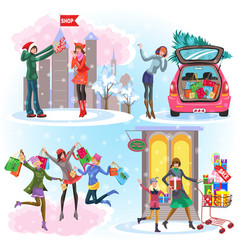 cartoon set of images with different christmas vector image