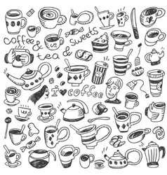 Coffee cups - doodles set vector