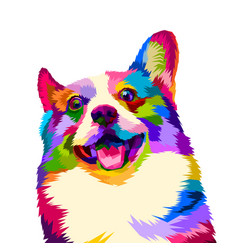 Colorful happy dogs smile beautifully with pop vector