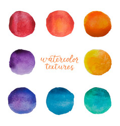 Colorful watercolor circles set watercolour vector