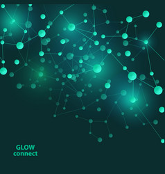 connect green lines abstract technology glowing vector image