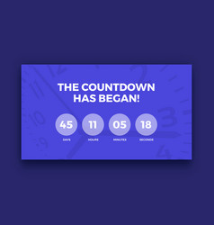 Countdown timer screen purple color vector
