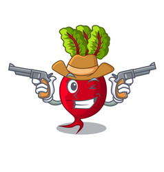 Cowboy cartoon fresh harvested beetroots in wooden vector