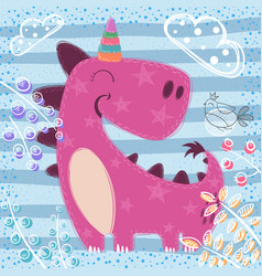 cute sleep unicort - textured vector image