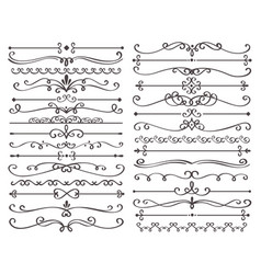 Decorative page divider vintage decor lines vector