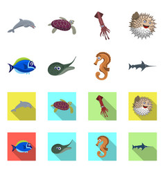Design of sea and animal symbol set of sea vector