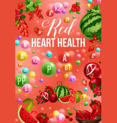 Detox color diet poster with red day vitamin food vector