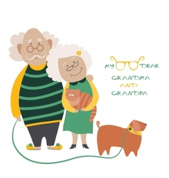 Elderly Couple With Their Dog vector image