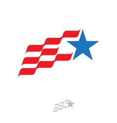 flag red strips blue star american symbol win icon vector image