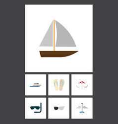 Flat icon summer set of boat beach sandals vector