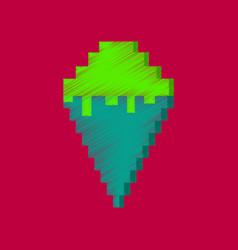 flat shading style icon pixel ice cream cone vector image