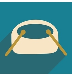 Flat with shadow icon and mobile applacation drums vector