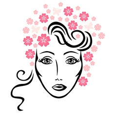 flowers woman vector image