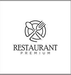 food cutlery logo line design vector image