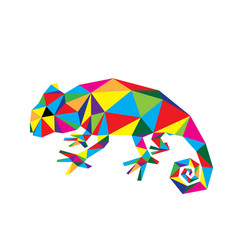 geometric chameleon vector image
